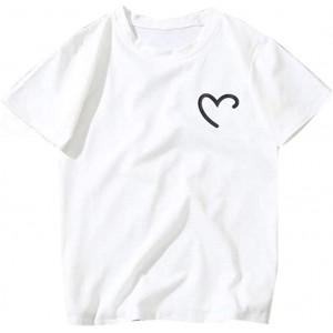 Voicry Frauen Mädchen Plus Size herzförmige Print Tees Shirt Kurzarm T-Shirt Bluse Bekleidung