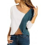 Voicry Frauen Oansatz Spleißen Farbe Kollision Langarm Plus Size Easy Tops Bluse Bekleidung