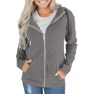 Voicry Mode Frauen reißverschluss Langarm Sweatshirt Mantel Outwear Kapuzenjacke Mantel Bekleidung