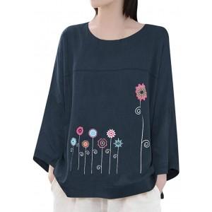 Voicry Übergröße Frauen Langarm Baumwolle Leinen O-Neck Print Bluse Top T-Shirt Bekleidung