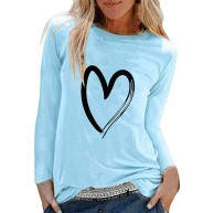 Voicry Womens Casual Print Shirts O-Ausschnitt Langarm Top lose T-Shirt Bluse Bekleidung