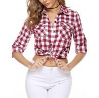 Aibrou Damen Langarm Bluse Kariertes Karo-Hemd Casual Boyfriend Button-down V-Ausschnitt Leichte Dünne Blusenshirt Freizeit mit Einstellbare Ärmeln Bekleidung