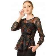 Allegra K Damen Langarm Bindegürtel Panel Spitze Peplum Top Bluse Bekleidung