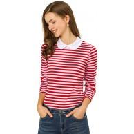 Allegra K Damen Langarm Bubikragen Colorblock Streifen Top Bluse Bekleidung