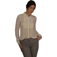 Golden Trachten Damen Bluse Business Büro Hemd Elegant Chiffon Bluse Schwarz und Weiß DH03 Bekleidung