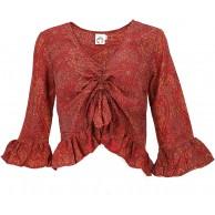 GURU SHOP Blusentop Chic Seidige Hippie Bluse mit Langen Armen Damen Synthetisch Blusen & Tunikas Alternative Bekleidung Bekleidung