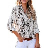 Maavoki Damen Langarm Revers Blusen Elegante V-Ausschnitt Oberteile Front Button Down Shirt Bekleidung