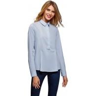 oodji Ultra Damen Baumwoll-Bluse mit Schößchen Bekleidung