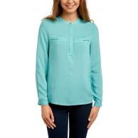 oodji Ultra Damen Bluse aus Viskose mit Dekorativen Brusttaschen Bekleidung