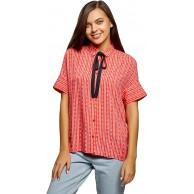 oodji Ultra Damen Viskose-Bluse mit Bindebändern am Kragen Bekleidung