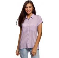 oodji Ultra Damen Viskose-Bluse mit Brusttaschen Bekleidung