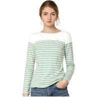 Allegra K Damen Langarm Rundhals Colorblock Streifen Top Tshirt Bekleidung