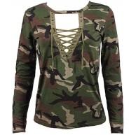 Binggong Damen Bluse Xinan Langarm Shirt Schlanken Lässige Print Top Tops Frauen Langarm Camouflage Print Schnürung T-Shirt Bluse Tops sexy Tarnung s Bekleidung