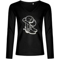 BlingelingShirts Elegantes Glitzer Langarmshirt Damen Line Dance Cowboystiefel mit Cowboyhut Longsleeve Bekleidung