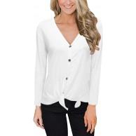 BOIYI Frauen Sweatershirts Langarmshirt Rundhalsausschnitt Casual Tops v-Ausschnitt solides Criss Cross sexy schulterfrei TshirtWeiß XL Bekleidung