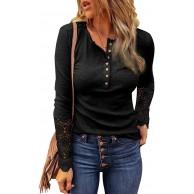 Dokotoo Damen Sexy V-Ausschnitt Langarmshirt Slim Fit Sweatshirt Tunika Dünne Oberteile Langarm Slim Fit Pulli S-2XL Bekleidung