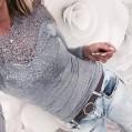 Jc.Kube Damen Sexy Oberteile Langarmshirt Tops mit Spitze Bekleidung