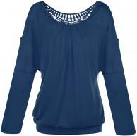 Jusfitsu Damen Rundkragen Langarm Bluse Rueckenfrei Falten T-Shirt Tops Elegante Spitzen Langarmshirts Bekleidung