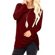Kidsform Longshirt Damen Oberteile Langarmshirt Kurzarm Tunika V-Ausschnitt T-Shirt Longbluse Bekleidung