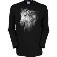 Lady Langarmshirt - Wildlife - Schimmel Kopf - USA Damen Shirt mit Motiv als Geschenk für Pferde Fans Bekleidung