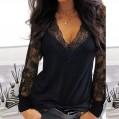Loozykit Damen T-Shirt Langarm Shirt mit Spitze Pullover Damenshirt Transparent Tunika V-Ausschnitt Tops Elegante Bequeme Oberteile Casual Bekleidung