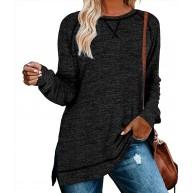 meybecci Damen Sweatshirt Casual Rundhals Langarmshirt Bluse Pullover Top mit Seitliche Split Bekleidung