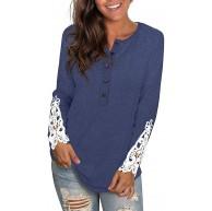 Nekosi Damen Langarm Sweatshirt mit Rundhalsausschnitt Einfarbige Spitzenknöpfe Henley Shirt Tunika Tops Bekleidung