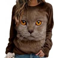 Onsoyours Damen Sweatshirt Winter Tshirt Langarm Top Cartoon 3D Druck Katzen-Muster Täglich Basic Casual Hoodies Sweatshirts Bekleidung