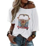 Onsoyours T-Shirt Damen V Ausschnitt Kurzarm Langarm Sommer Casual CarDruck T Shirt Top Bluse Oberteil Bekleidung