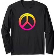 Peace Sign Symbol Pink Yellow Hippie Women Girls Langarmshirt Bekleidung