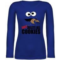 Shirtracer - Nerds & Geeks - Don't Delete The Cookies! Keks-Monster - Langarmshirt Damen Shirtracer Bekleidung