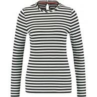 Taifun Damen Ringel-Shirt mit Faltenblende figurbetonte Passform Bekleidung