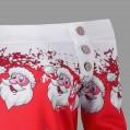 TWIFER Damen Frohe Weihnachten Santa Snowflake Off Shoulder Langarmshirt Pullover Bekleidung
