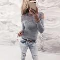 Ulanda Damen Frauen Teenager Mädchen Clearance Langarmshirt Gestreift Sexy Trägerlos Oberteile Shirts mit Spitzen Tunika Tops Sale Schulterfreies Bluse Pulli Pullover T-Shirt Hemd Bekleidung