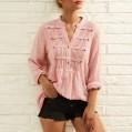 WoWer Lässiges Langarmhemd mit V-Ausschnitt für Damen Lockeres Knopfoberteil Einfarbiges Langarmshirt Langarm Tunika Pullover Oberteile Shirt Langarmshirt Casual Sexy Sweatshirt Bekleidung