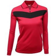 Coolmax-Poloshirt für Damen 2-farbig langärmelig Rot Größe 3XL Bekleidung