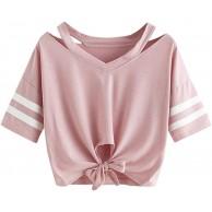 Fairy Costume Damen Teenager Mädchen Streifen Bluse Sport V-Ausschnitt Tops Shirt Hemd Frauen Kurzarm Lässiges T Shirt Oberteil Pullover Bekleidung