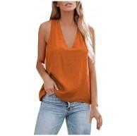 JUTOO Damen V-Ausschnitt Tank Pure Color Cross Back Lässig lose ärmellose Shirts Tops Bekleidung