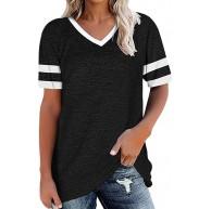 SEXOX T-Shirt Kurzarm Tunika Tops Bluse Oberteil Hemd für Damen Frauen Shirts V-Ausschnitt Streifen auf Ärmel Raglan Farbblock Oversize Lose Elegant Casual Sportlich Sommer Streetwear Hemshirts Bekleidung