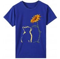 SHOBDW Damen Sommer Shirt Elegant Kurzarm Tops Blouse Damen T-Shirt Sonnenblume Katze Drucken Basic Tops Rundhals Sommer Shirt Locker Große Größen Damen Oberteile Bekleidung
