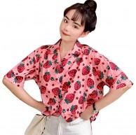 Tasty Life Sommer Erdbeerhemd Damen Kurzarm Shirt Erdbeer Print Cute Top Sommer Casual Bluse Hawaii Shirt Kurzarm Cool Shirt Lose Oberteile Frauen Bekleidung