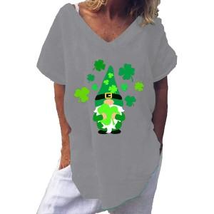 theshyer Das kurzblättrige T-Shirt mit vierblättrigem Kleeblattdruck von Ladies Saint Patrick V-Ausschnitt einfarbige lose Kurze Ärmel für den Alltag geeignet Bekleidung