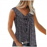 TOFOTL Blusenshirt Damen ,Mode Frauen V-Kragen gedruckt gebrochenen Blumen ärmelloses Freizeit-Shirt Bekleidung
