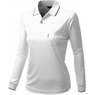 Xpril Damen Basic Kragen Polo Langarm Pocket Point T-Shirt Bekleidung