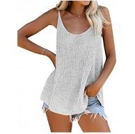 CYSTYLE Damen Ärmellos Strick Tank T-Shirt Oberteil Casual Bluse lockere Top Shirt Bekleidung