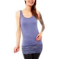 Easy Young Fashion Damen Tank Top Lang Longtop mit Spitze Unterhemd Long Achseltop Slim Fit Bekleidung