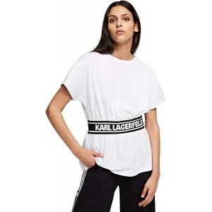 KARL LAGERFELD Damen Logo Tape Top T-Shirt Bekleidung