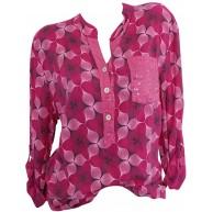Lazzboy Damen Sommer Bluse Elegant Kurzarm Rundhals Loose Oberteile Casual Retro T-Shirt Bekleidung