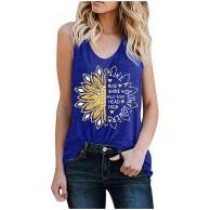 Lenfeshing Damen Ärmellose Tops Sommer Basic Tanktop Casual Loose Tank Top Sonnenblumen T-Shirt Weste Sommer Trägershirt Shirt Sporttop Hemden Bluse Bekleidung