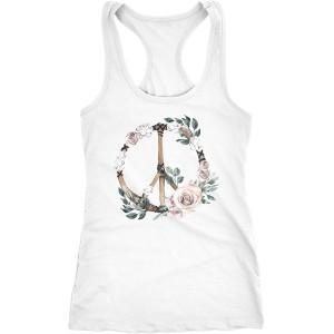 Neverless Damen Tank-Top Peace-Symbol Blumen Flowerpower Hippie Boho Bohemian Racerback Bekleidung